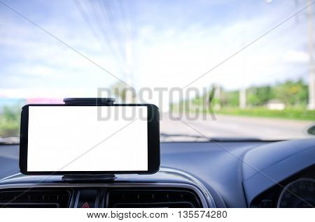 Blank mobile smart phone selective focus on road background shallow depth of field