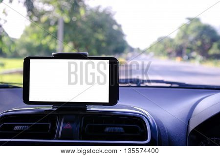 Blank white space on mobile smart phone using for GPS navigator selective focus shallow depth of fileld road bacground