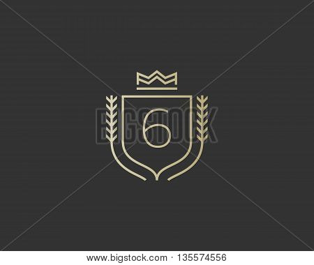 Premium number 6 ornate logotype. Elegant numeral crest logo icon vector design. Luxury figure shield crown sign. Concept for print or t-shirt design.