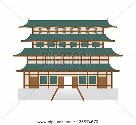 Japan culture concept represented by traditional architecture icon over flat and isolated background