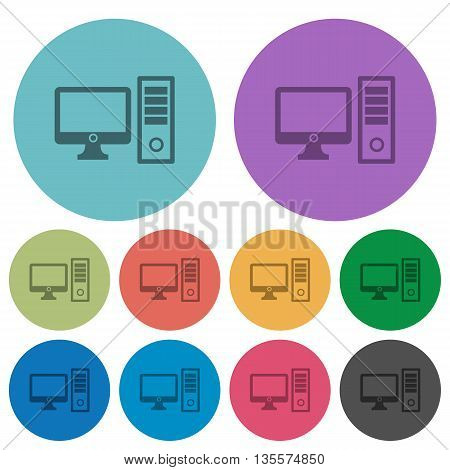 Color desktop computer flat icon set on round background.