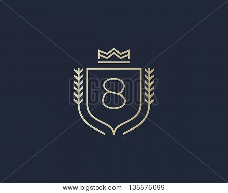 Premium number 8 ornate logotype. Elegant numeral crest logo icon vector design. Luxury figure shield crown sign. Concept for print or t-shirt design.