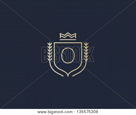Premium number 0 ornate logotype. Elegant numeral crest logo icon vector design. Luxury figure shield crown sign. Concept for print or t-shirt design.
