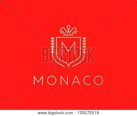 Elegant monogram letter M logotype. Premium crest logo design. Shield, royal crown symbol. Print, t-shirt design shape