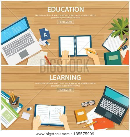 Education and learning banner flat design template. School object on wooden background