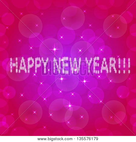 Pink background with stars for happy new year. Vector illustration.