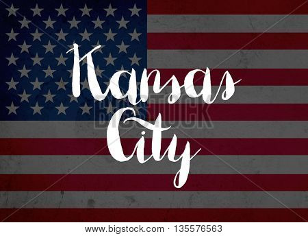 Kansas City written with hand-written letters
