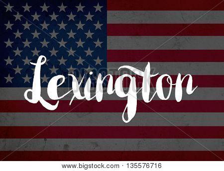 Lexington written with hand-written letters