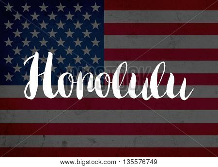 Honolulu written with hand-written letters