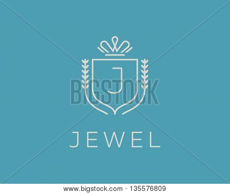 Elegant monogram letter J logotype. Premium crest logo design. Shield, royal crown symbol. Print, t-shirt design shape