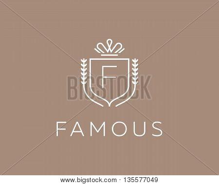 Elegant monogram letter F logotype. Premium crest logo design. Shield, royal crown symbol. Print, t-shirt design shape