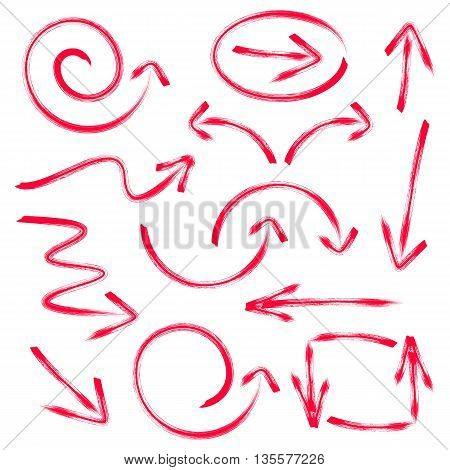 Red vector hand drawn arrows collection isolated