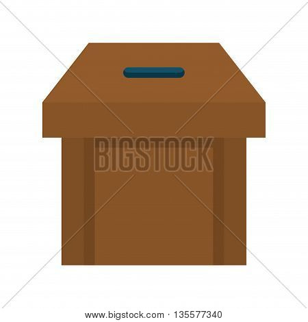 Vote represented by vote box  icon over isolated and flat background