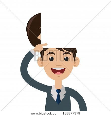 male person smiling pointing open head vector illustration