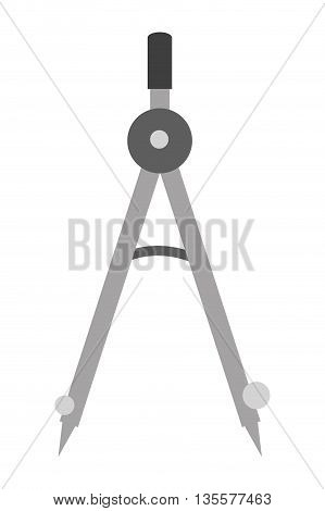 flat design grey drawing compass vector illustration