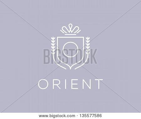 Elegant monogram letter O logotype. Premium crest logo design. Shield, royal crown symbol. Print, t-shirt design shape