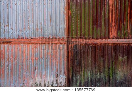 Old rusty zinc plat wall Zinc wall rusty Zinc grunge background.