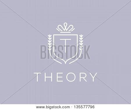 Elegant monogram letter T logotype. Premium crest logo design. Shield, royal crown symbol. Print, t-shirt design shape