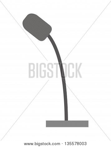 Communication represented by microphone icon over isolated and flat background