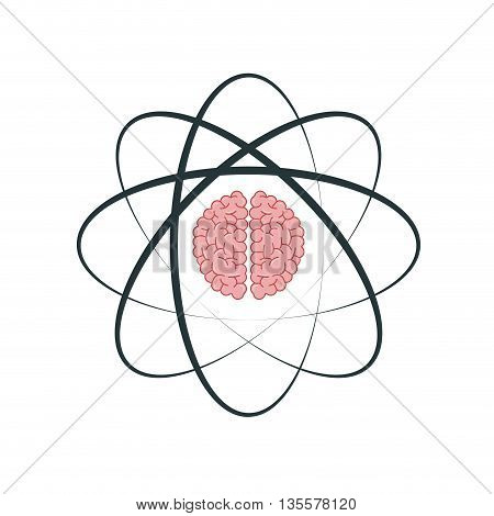 flat design of atom with orbits and brain in its core icon vector illustration