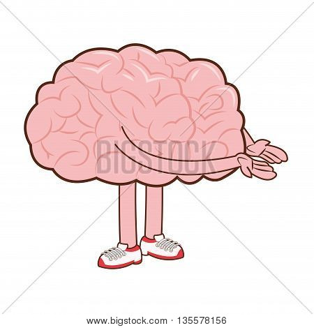 flat design of human brain with arms and legs icon vector illustration