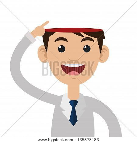 male person pointing open head vector illustration