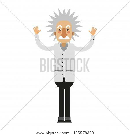flat design of albert einstein full body vector illustration