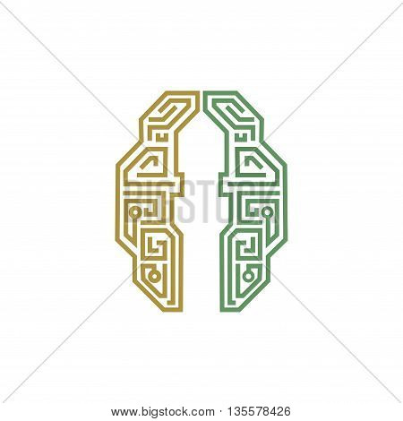 Islamic logo, mind and technology symbol with a minaret silhouette.