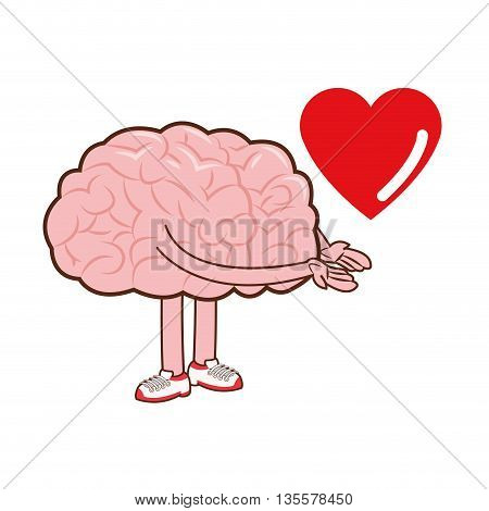 flat design of human brain and cartoon heart icon vector illustration