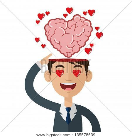 male person pointing open head with heart shaped brain coming out vector illustration