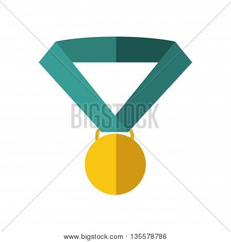 Winner represented by medal icon over isolated and flat background