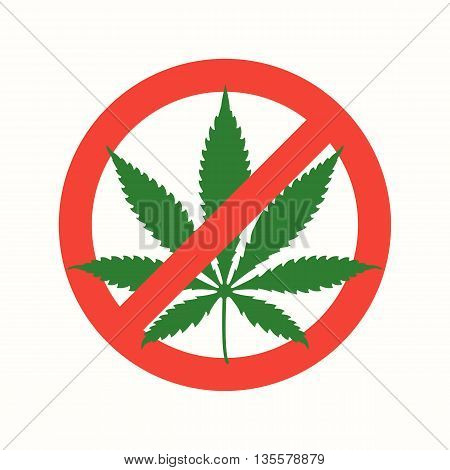 Cannabis Marijuana Flat Prohibited Icon .