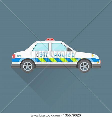Police Emergency Service Car Illustration.