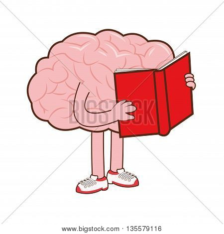 flat design of human brain holding red book icon vector illustration