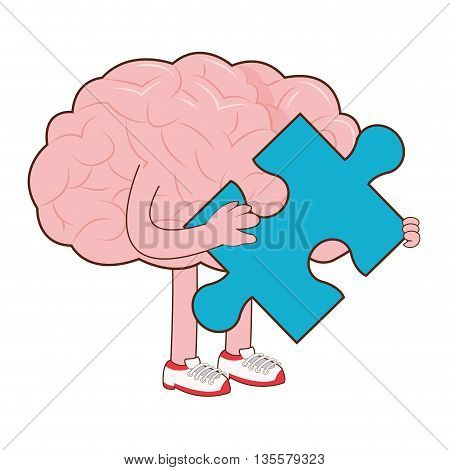 flat design of human brain holding blue puzzle piece icon vector illustration