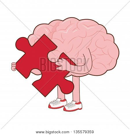 flat design of human brain holding red puzzle piece icon vector illustration