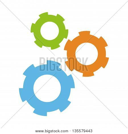 flat design of three colored gears icon vector illustration