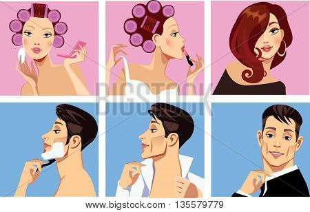 men shaves and woman in curler doing makeup