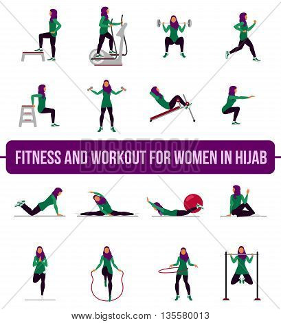 Muslim Aerobic Icons. 4X4. Full Color