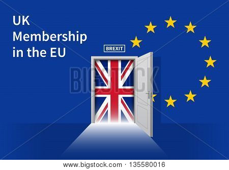 Brexit Door with the flag of the European Community and the flag of the United Kingdom. Vector illustration