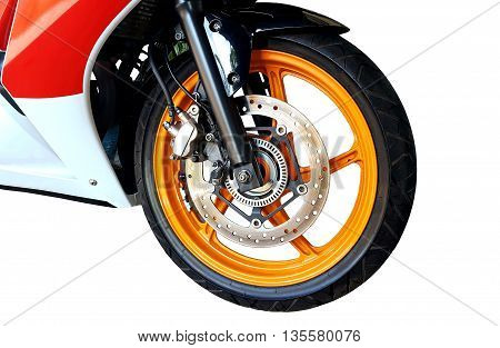 Front motorcycle disk break and tire isolated on white background