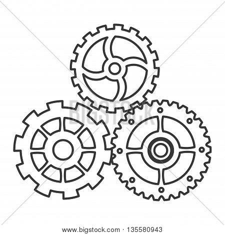 line design of gears icon vector illustration