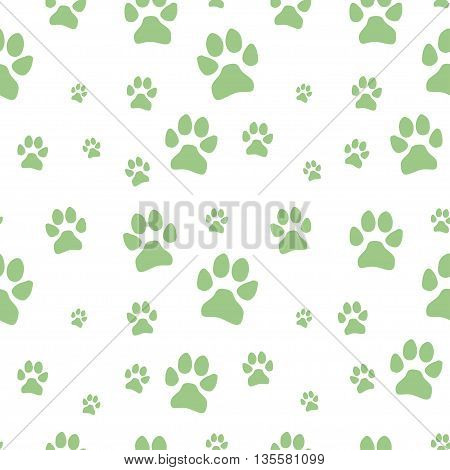 green dog footstep seamless pattern on white background