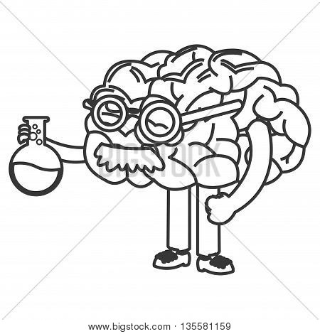 human brain with legs glasses and mustache holding flask with liquid icon vector illustration