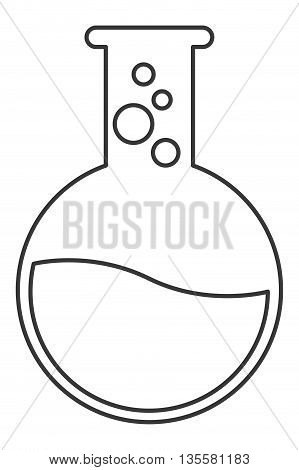 flat design chemistry flask with liquid and bubbles vector illustration