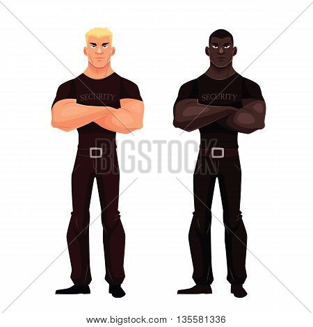 Two male security, illustration cartoon isolated on a white background, a male African and European security stand idly by, serious and strong people guards, security forces,