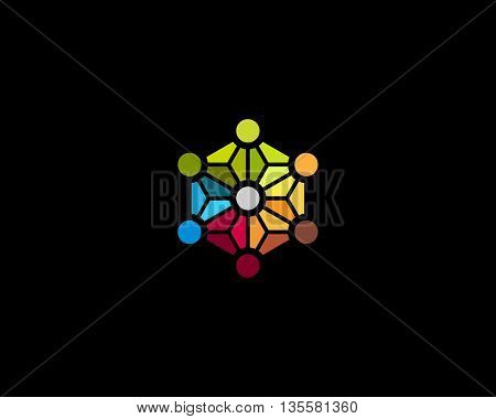 Abstract social media network biotechnology molecule atom dna logo design template. Medicine, science, technology, laboratory, vector logotype. Team work logistic structure icon.