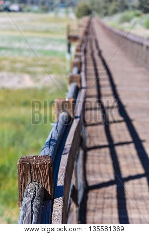 Wooden Walkway Over Dried Lake Bed