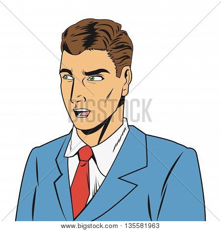 comic style of outraged man wearing jacket and tie icon vector illustration