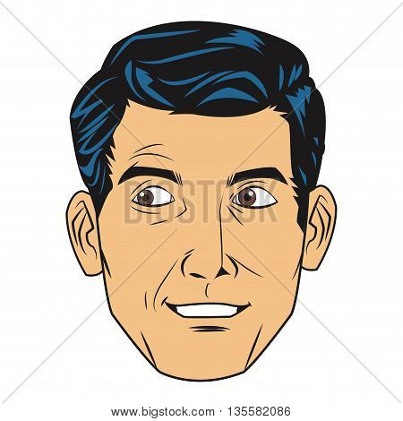 comic style face of seemingly uncomfortable man icon vector illustration